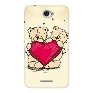 Impressive Cute Heart Twin Teddy Back Case Cover for Sony Xperia E4