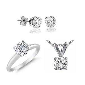 3 CT Diamond Set 14K White Gold - Ring, Pendant & Earrings (I1-I2 Clarity)