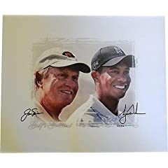Tiger Woods Jack Nicklaus Dual Hand Signed 20x24 Canvas # 250 - Upper Deck Certified... by Sports Memorabilia