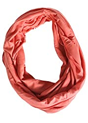 Dana Herbert Solid Color Jersey Infinity Scarf Coral