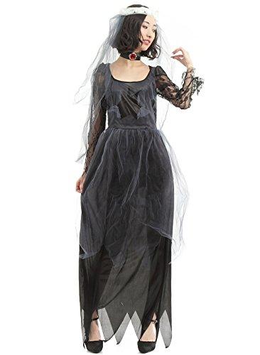 N-hilfe ゴースト 花嫁 コスプレ レディース ハロウィン 衣装 幽霊 ゾンビ ワンピース
