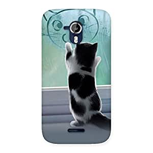Cute Kitty Face Print Back Case Cover for Micromax Canvas Magnus A117
