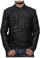 Mens Black Slim Fit Lambskin Leather Jacket - Zac Efron 17 Again