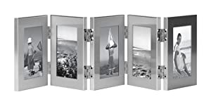Burnes of Boston C53323 5 Hinged Picture Frame, 2-1/2-Inch by 3-1/2-Inch, Brushed Silver