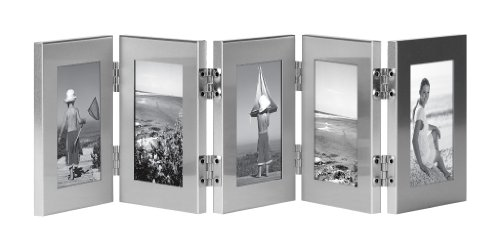 Burnes of Boston C53323 5 Hinged Picture Frame, 2-1/2-Inch by 3-1/2-Inch, Brushed Silver (Burnes Of Boston Picture Frames compare prices)
