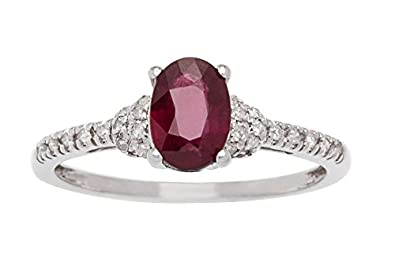 10k White Gold Genuine Oval Ruby and Pave Diamond Ring (G-H, I1-I2)