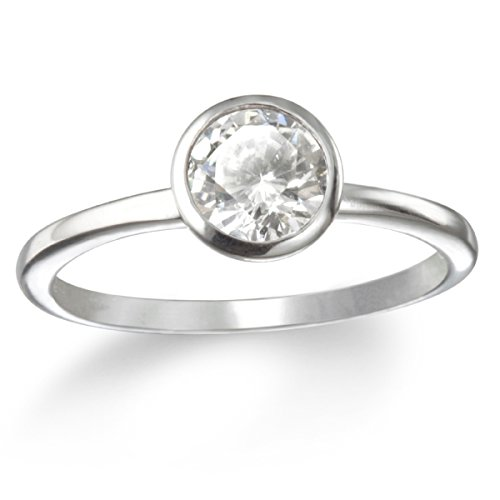 Bezel Set White Cz Solitaire Ring