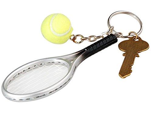 Tennis Racket Key Chain (Silver & Green) M. By Preciastore