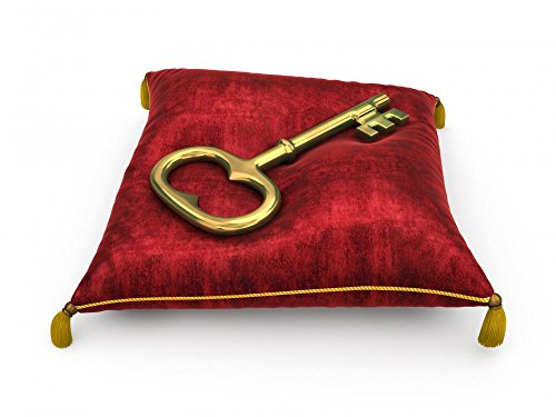 Wallmonkeys Golden Key on Royal Red Velvet Pillow Isolated on White Backgrou Peel and Stick Wall Decals (18 in W x 14 in H)