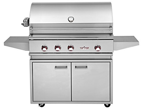"""Delta Heat 38"""" Natural Gas Grill On Double Door Cabinet With Infrared Rotisserie And Infrared Sear Zone"""
