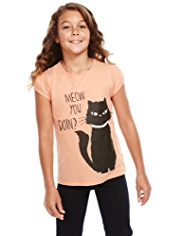 Pure Cotton Cat Print T-Shirt