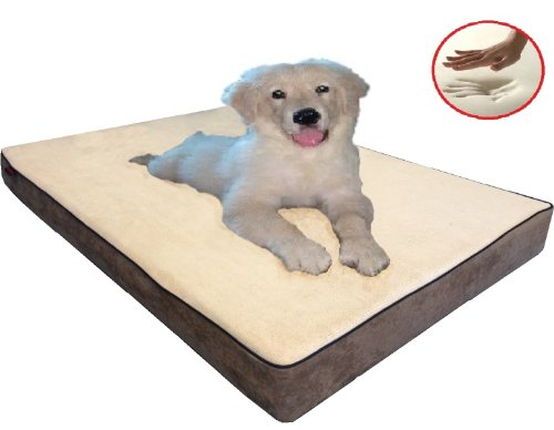 "Beige Color Gusset Style 47X29""X4"" Orthopedic Waterproof Memory Foam Pet Bed Pad For Large Extra-Large Dog Crate Size 48""X30"" With 2 External Covers front-198629"