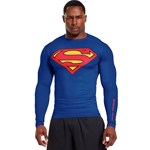 Mens Alter Ego Superman Compression Long Sleeve Shirt,Royal/Red,Small