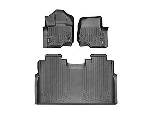2015-2016 Ford F-150-Weathertech Floor Liners-Full Set (Includes 1st and 2nd Row)-Fits Supercrew Models Only-Black by WeatherTech (Ford F150 Carpet compare prices)