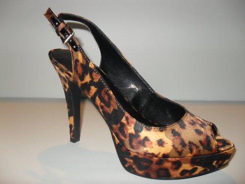 Women'S Nine West Leopard Print Slingback Platform Heels (Iwanto), Size 6.5 M
