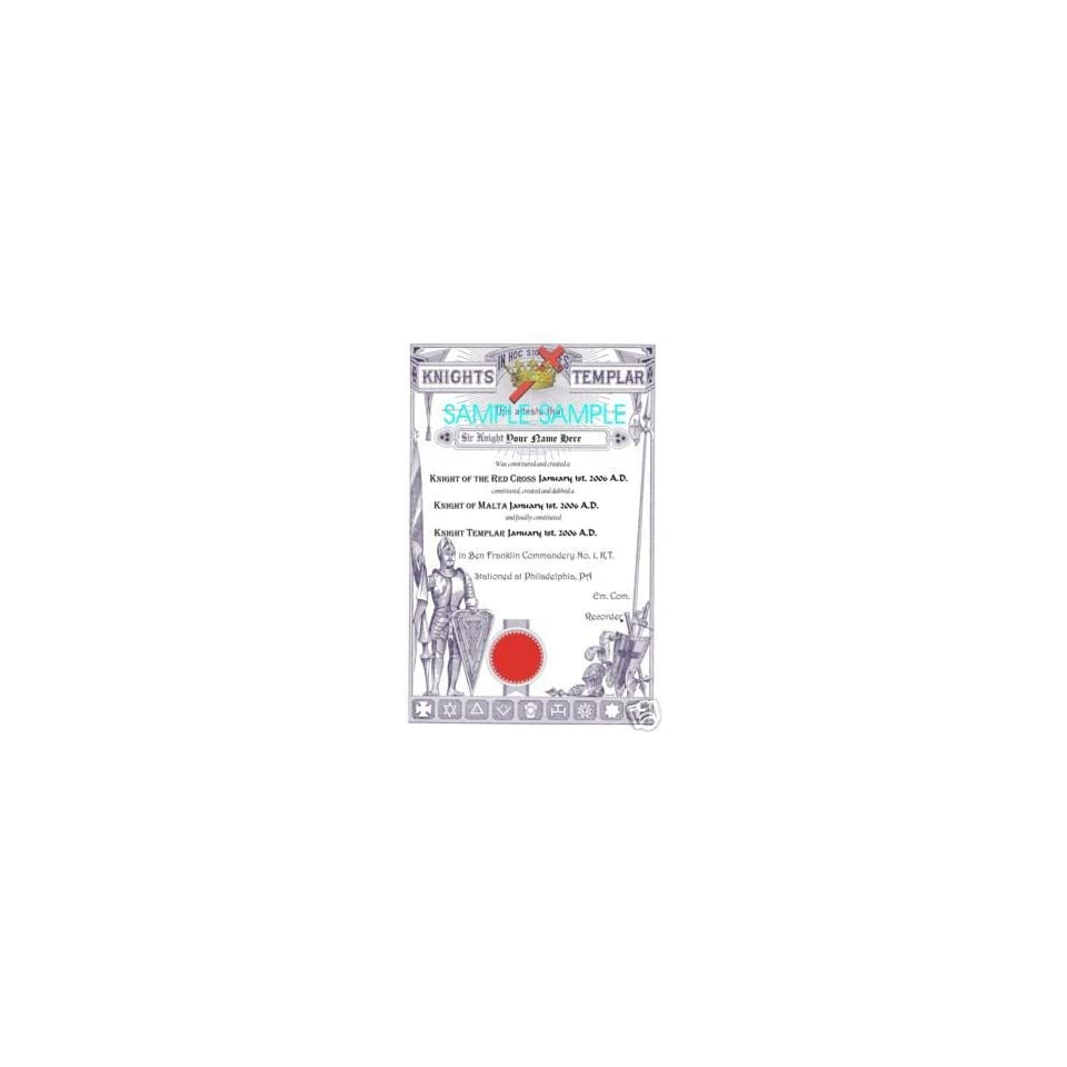 Personalized Masonic Knights Templar Print of Freemasonry Reproduction 11 X 17 Freemasonry ring
