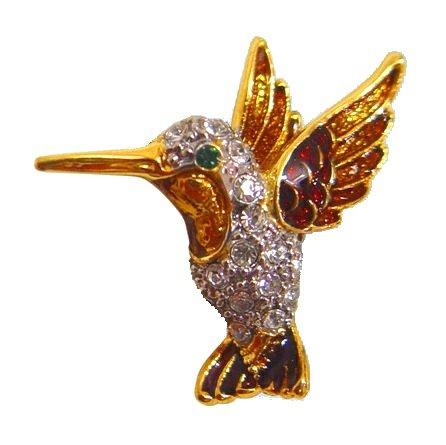 Hummingbird Pin Brooch 24K Gold Swarovski Crystals