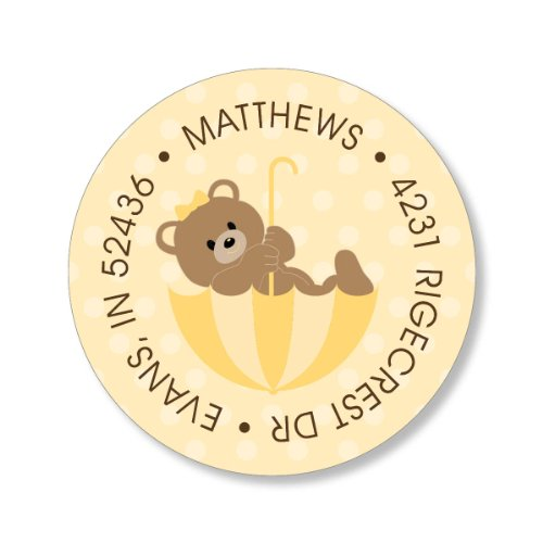 Polka Dot Teddy Buttercup Round Baby Shower Stickers