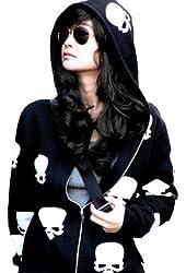 Meilaier Womens Fashion Skull Hoodies Outwear Zip Up Hooded Coats Jackets