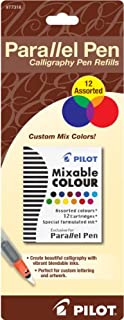 Pilot Parallel Pen Ink Refills for Calligraphy Pens, Assorted Colors, 12 Cartridges per Pack, Carded (77318)