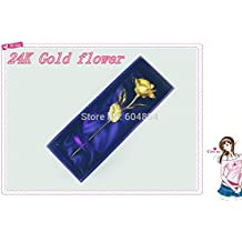 Alcoa Prime 2pcs/lot Lover' S Gift, Christmas Gift Gold Rose With Gift Box, Dipped In 24K Gold, Bud And Bloom...
