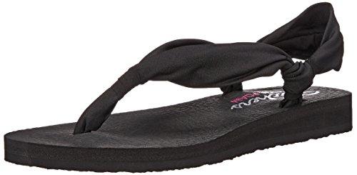 Skechers Cali Women's Meditation-Summer Breeze Flip Flop, Black, 8 M US