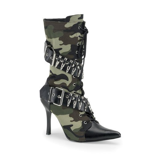 Women Sexy Boot 3 3/4'' High Heel Ankle Boot Green Camoflage Bullet Army Costume