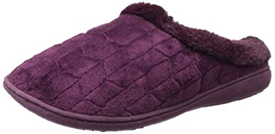 Dearfoams Women's Quilted Velour Slipper,Aubergine,Small/5-6 M US