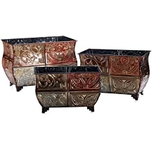 Elements 4-Color Tile Embossed Rectangular Planter (Set Of 3)