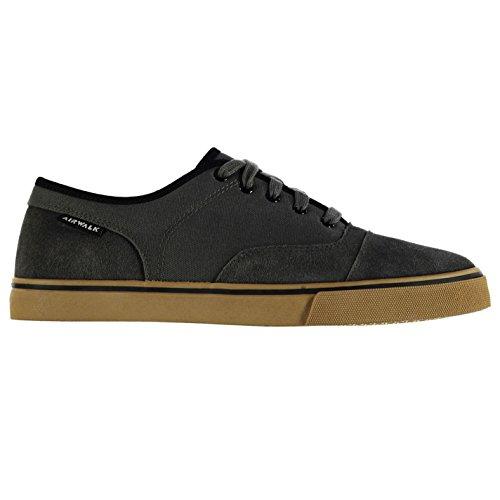 airwalk-hombre-tempo-canvas-zapatos-zapatillas-con-cordones-suela-gruesa-gris-oscuro-42