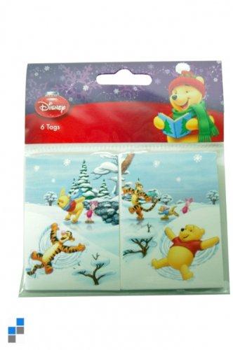 6 Winnie Puuh Weihnachts-Geschenkanhänger, 2fach sortiert, Winnie the Pooh