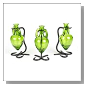 Triple Glass Lime Amphora Vase Set