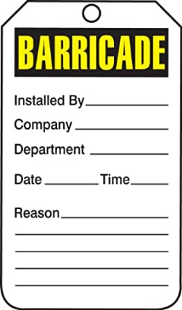 """Accuform Signs TAB101PTP Barricade Status Tag, Legend """"BARRICADE"""", 5.75"""" Length x 3.25"""" Width x 0.015"""" Thickness, RP-Plastic, Yellow/Black on White (Pack of 25)"""