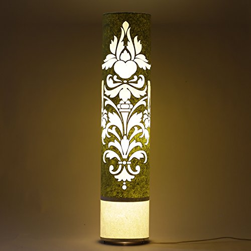 craftter-cartouche-pattern-green-and-red-35-inch-long-cylinderical-cylinderical-artistic-floor-lamps