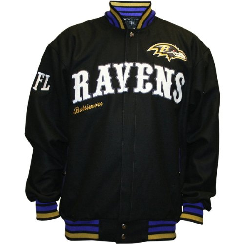 NFL Men's Baltimore Ravens First Down Wool Jacket (Black, X-Large) at Amazon.com