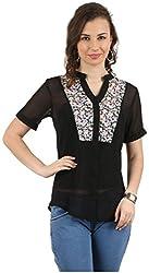 MANKA Women's Half Sleeve Top (MK-558_S, Black, Small)