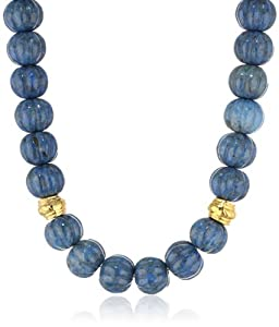 Devon Leigh Lapis Nugget and Gold Dipped Bead Necklace