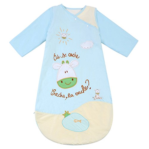 HAPPY CHERRY Autumn Baby Sleeping Bag Long Sleeves SleepSack Wearable Blanket - Cartoon Calf - Blue - Quilted Cotton - Suitable Height(23.62-35.43inch) - 6 Months-2 Years