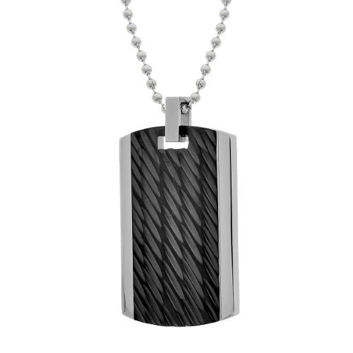 Men's Stainless Steel Textured Black Ionic Plating Pendant Necklace, 22