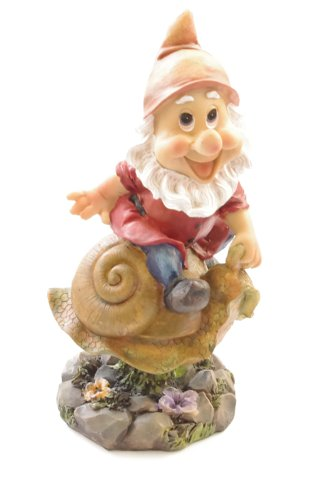 Funny Garden Gnome Wobbler. Gnome riding a snail wobbles in the wind