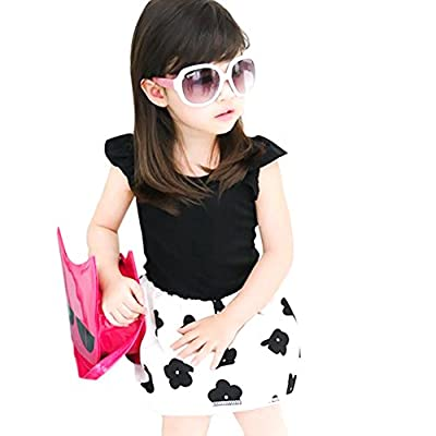 Weixinbuy Kids Girl Cotton Blends Sleeveless Flower Princess Party Dress