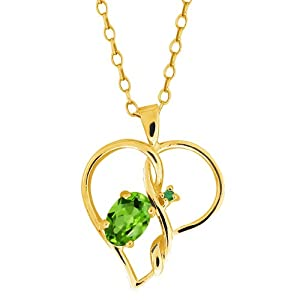 0.51 Ct Oval Green Peridot and Green Diamond 10k Yellow Gold Pendant