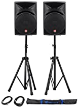 """Package: (2) Rockville RPG15 2,000 Watt 2-Way DJ/PA Powered Speakers With a 15"""" Woofer and a 3"""" Voice Coil + Rockville RVSS2-XLR Pair of Adjustable Pro Speaker Stands + (2) XLR Male to Female Cables + Carrying Case"""