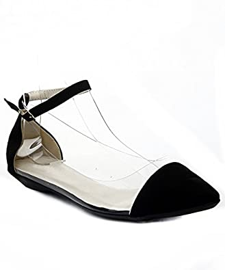 Women's Vegan Suede Pointy Toe Lucite Ankle Strap Sandals BLACK SUEDE (5.5)