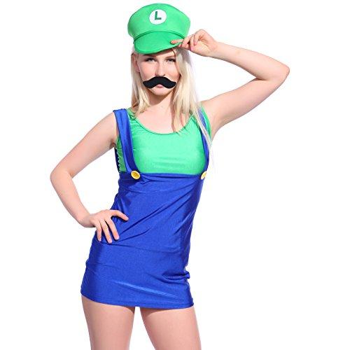 Sexy Donna Cosplay Costume Travestimento Carnevale Super Mario Luigi Bros Verde & Azzurro Taglia M