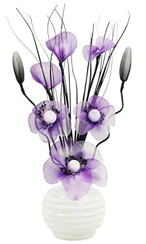 32cm Flourish Creative Florals 5055278797638 Decoration Chambre-Vase avec Fleurs Artifielles Verre Cr/ème Brown Paires