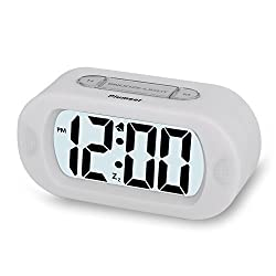 Plumeet Easy Setting Silicone Protective Cover Digital Silent LCD Large Screen Desk Bedside Alarm Clock With Snooze Light Function Batteries Powered (white)