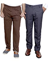 Indistar Mens Formal Trousers With Men's Premium Cotton Lower (Length Size -40) With 1 Zipper Pocket And 1 Open Pocket (Pack Of -1 Lower With 1 Trouser) - B01GEIOTL2