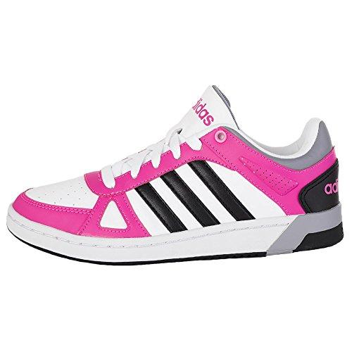Adidas - Hoops Team W - F98858 - Couleur: Blanc-Noir-Rose - Pointure: 38.0