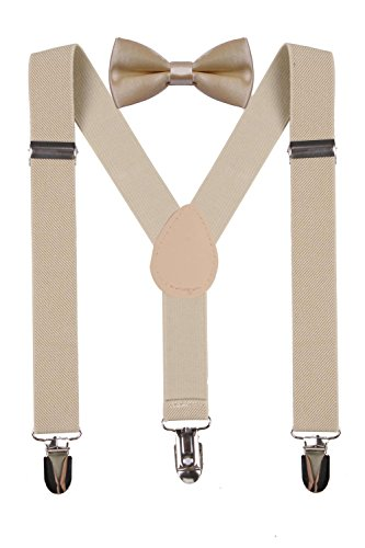 wdsky baby toddler khaki suspenders matching kids bow ties